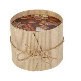 """Коробка круглая из рифленного картона, """"Ореховый рай"""", 9.5 х 8 см"""