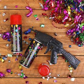 Спрей-серпантин пистолет, цвет красный, набор 2 шт.