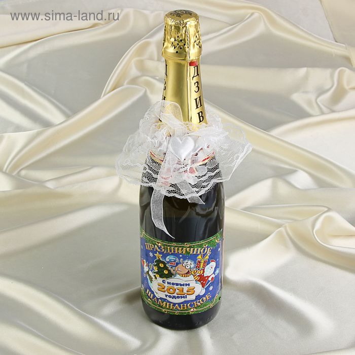 Украшение для шампанского кружевное, цвет белый