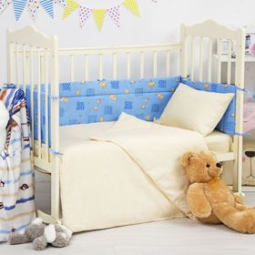Борт в кроватку 'Жирафики', размер 360*30 см, цвет синий, бязь 120 гр/м Ош
