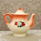 """Чайник заварочный 0,6 л """"Лорд"""" коралл, три розы деколь"""