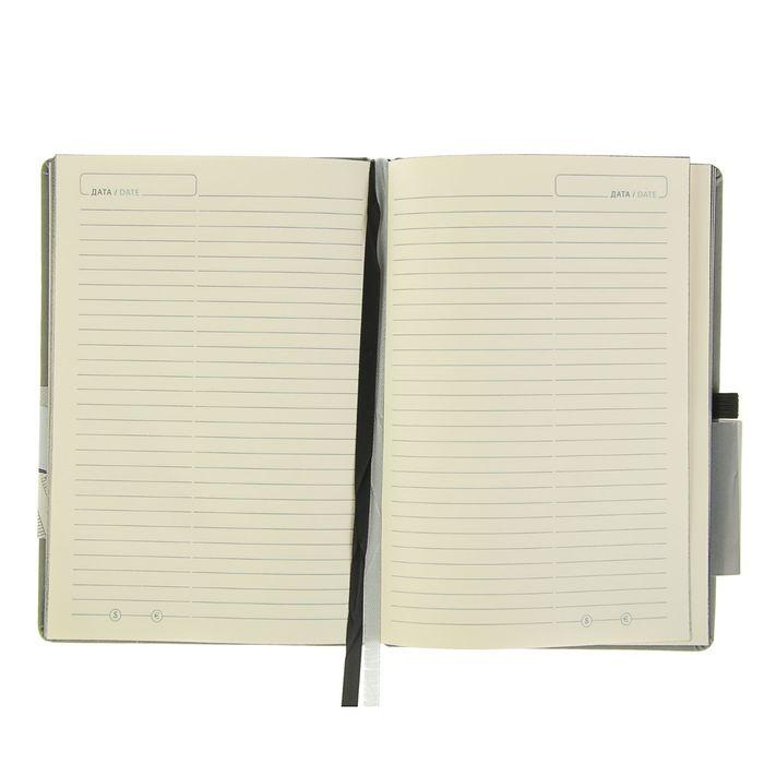 Ежедневник-плановик полудатированный А5, 144 листа Soul, искусственная кожа, черный срез, тиснение, серый