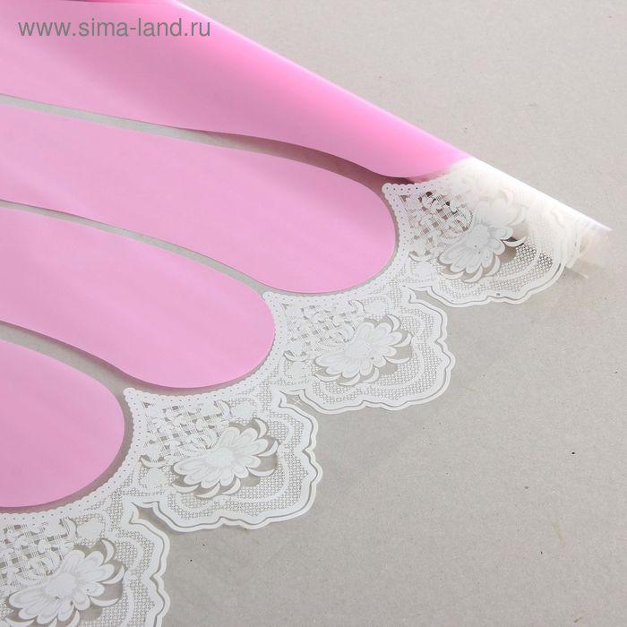 """Пленка для цветов тонированная """"Кружева"""" розовый-белый 600 мм х 8.5 м"""