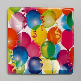 Тарелка бумажная квадратная 'Шары', 21 см Ош