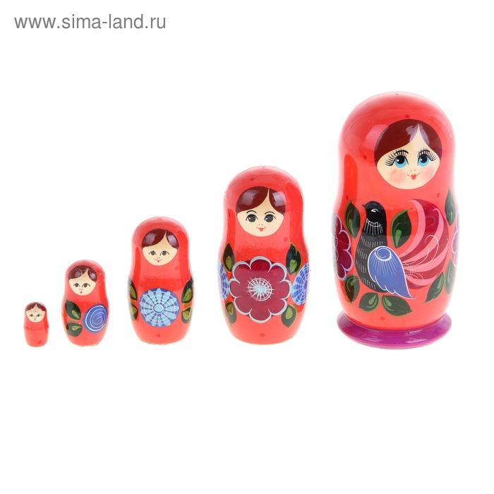 """Матрешка """"Городец с петушками"""", розовое платье, розовый платок, 5 кукольная м/р"""