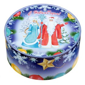 "Коробка круглая ""Дед мороз и снегурочка"" 15 х 15 х 7 см"
