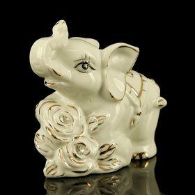 "Сувенир керамика ""Белый слонёнок с розами"" страза 9х4,5х10 см"