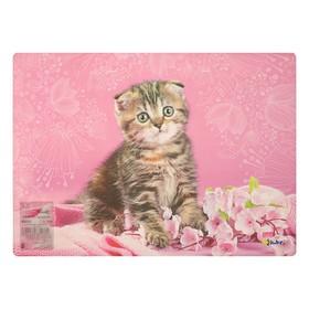 Накладка на стол дизайнерская «Котёнок в цветочках», для девочки, 337 х 242 мм, КН 4-1 Ош