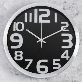 Часы настенные круг, рама хром, циферблат черные, большие цифры хром d=30см