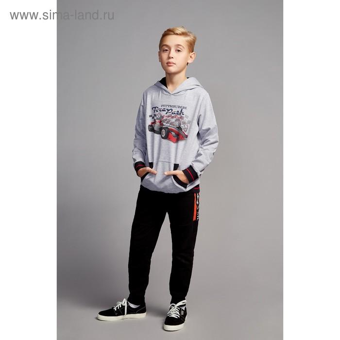 """Джемпер для мальчика """" Формула"""", рост 146 см,  цвет серый, принт гоночная машина ПДД933858"""