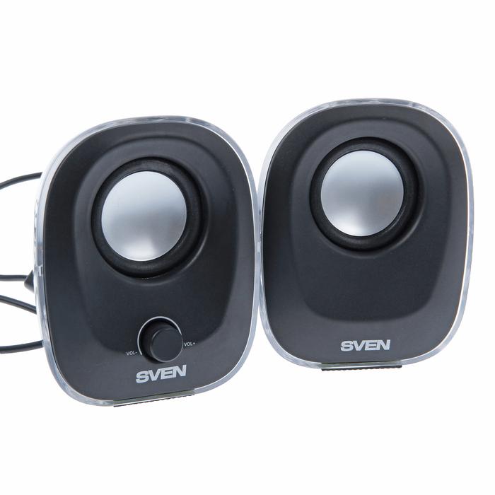 Акустическая система 2.0 SVEN 330, 2x2.5Вт, подсветка, USB, черные