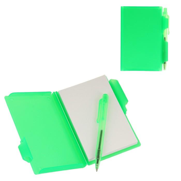 Блокнот А7 30л обложка пластик с ручкой зеленый