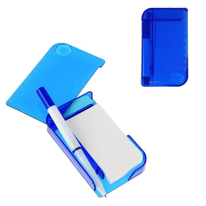 Блокнот А7 30л обложка пластик с ручкой,закладки липкие,лупа,синий