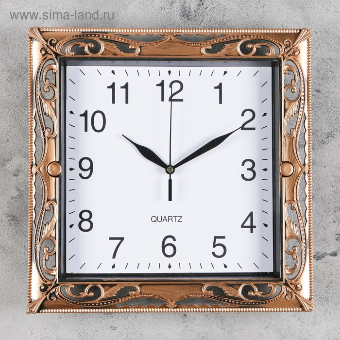 Часы настенные квадр. рама под ажурный металл микс 30*30см