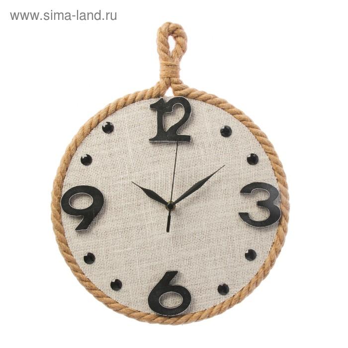 Часы настенные, на петле, на циф-те чёрные стразы, текстильные, d=31 см