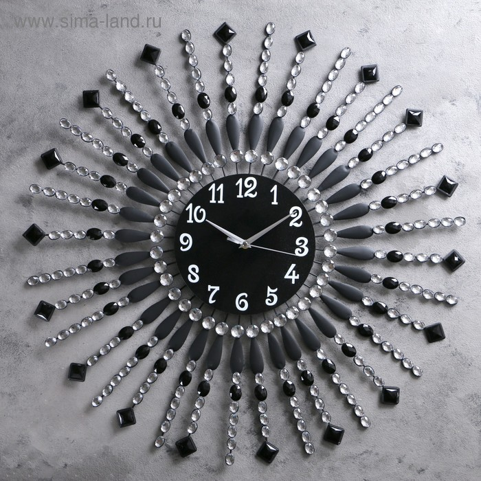 Часы настенные, серия Ажур «Стрелы с бусинами», декор-камни, d=69 см