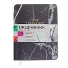 Ежедневник недатированный А6 (115*144 мм), 144 страницы Maestro de Tiempo Luna, искуственная кожа, тиснение золотом, черный мрамор