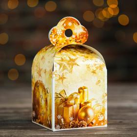 Подарочная коробка 'Золотой', кубик малый, 9 х 9 х 13 см Ош