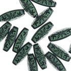 """Набор бусин пластик (16 шт) """"Узоры ацтеков"""" 2,9х1,2 см, зелено-черный"""