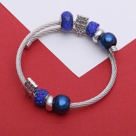 """Браслет-пружинка """"Марджери"""", цвет синий в серебре"""