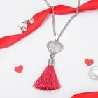 """Гарнитур 2 предмета: серьги кулон """"Кисть"""" сердце, цвет бело-бордовый в серебре, 50см"""