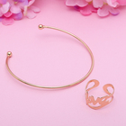 """Набор 2 предмета: браслет, кольцо """"Мини"""" любовь, цвет золото, безразмерное"""