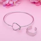"""Набор 2 предмета: браслет, кольцо """"Мини"""" зигзаг, цвет серебро, безразмерное"""