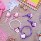 """Набор детский """"Выбражулька"""" 3 пред-а:браслет, 2 заколки, сердца, цвет МИКС"""