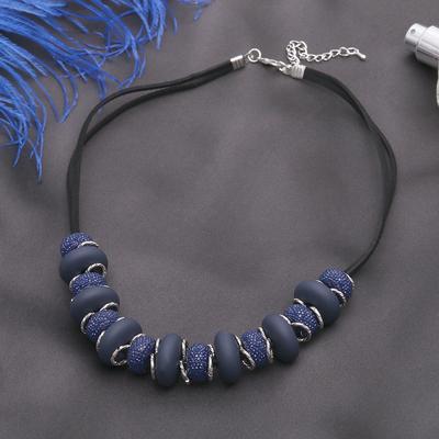 """Бусы """"Беатрис"""", цвет фиолетово-чёрный в серебре, 45см"""