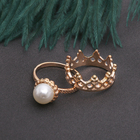 """Кольцо набор 2 штуки """"Белла"""" корона, бусина, цвет белый в золоте, размер 17-18 МИКС"""