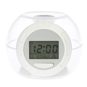 Электронные часы-будильник,  7 подсветок, температура, дата,7 звуков,3ААА,  10*10см