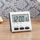 Настольные электронные часы серый квадрат, есть таймер, 1ААА, микс   8*7,5см