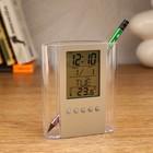 Электронные часы-будильник с подставкой под канцтовары, дата, температура, 1ААА,  10*12см