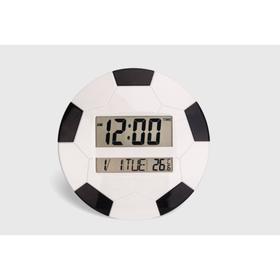 Электронные настенные часы, цветн футбольный мяч, дата, температура микс, 2 АА  26*26см