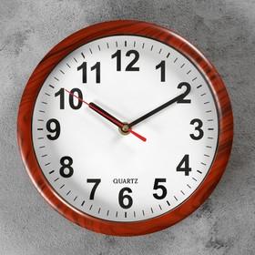 Часы настенные классика круг пластик, края под дерево, циферблат белый 21*21см