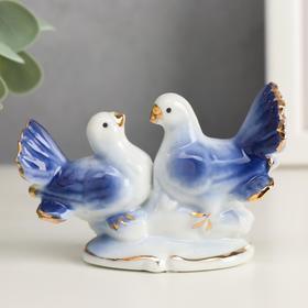 Сувенир под фарфор '2 голубка' синие Ош