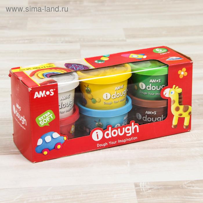 Тесто для лепки в баночках, 6 цветов AMOS