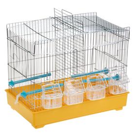 Клетка для птиц прямоугольная с перегородкой, 4 внешних кормушки, 2 окна для гнезд, 43х25,5х37 см