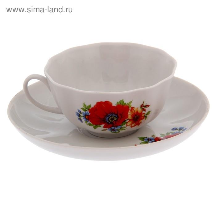 """Чайная пара 220 мл """"Тюльпан. Полевой мак"""""""
