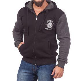 Джемпер-толстовка мужской на молнии с капюшоном 983 цвет чёрный, р-р 44-46 (M)