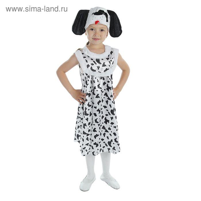 """Карнавальный костюм для девочки """"Далматинец"""", атлас, сарафан, шапка, р-р 56, рост 104 см"""