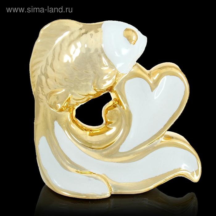 """Сувенир """"Рыбка с сердцем бело-золотая"""""""