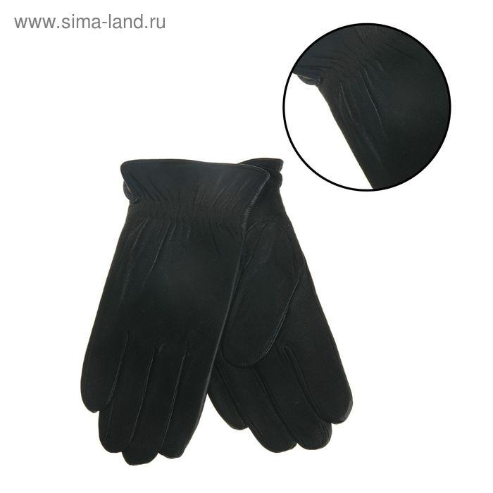 """Перчатки мужские """"Аден"""" резинка, подклад трикотаж, р-р 10,5, длина-25см, чёрные"""