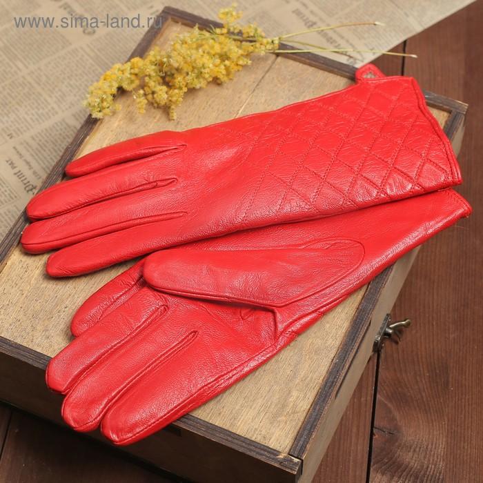 """Перчатки женские """"Антуанет"""" прошивка, подклад трикотаж, р-р 7,5, длина-24см, красный"""