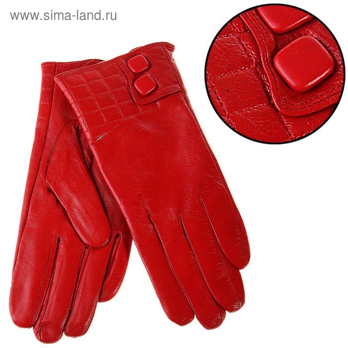 """Перчатки женские """"Адрианна"""" прошивка и 2 пуговицы, подклад трикотаж, р-р 8,5, длина-24,5см, красный"""
