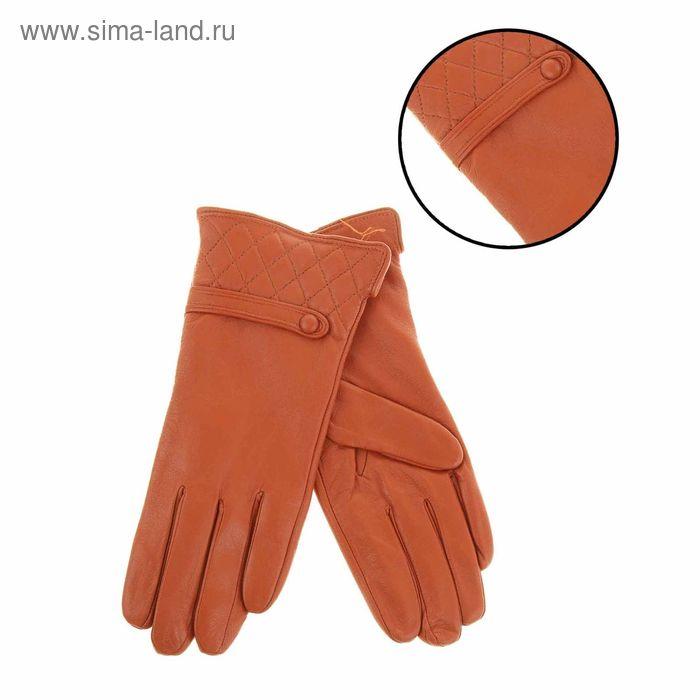 """Перчатки женские """"Элисон"""" прошивка и хлястик, подклад трикотаж, р-р 8, длина-24см, коричневый"""