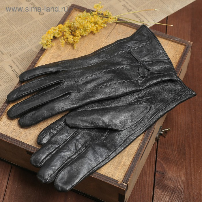 """Перчатки женские """"Изи"""" 3 строчки и бантик, подклад трикотаж, р-р 8, длина-24см, черный"""