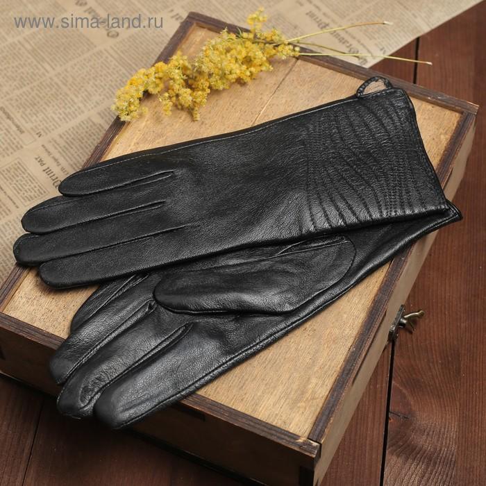 """Перчатки женские """"Мерида"""" прошивка, подклад трикотаж, р-р 8,5, длина-24,5см, черный"""