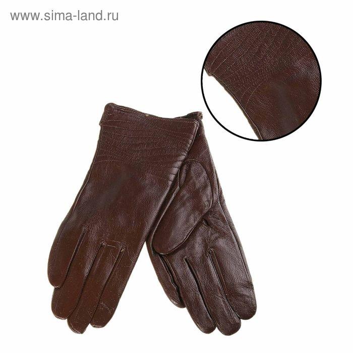"""Перчатки женские """"Мерида"""" прошивка, подклад трикотаж, р-р 7, длина-23,5см, темно-коричневый"""