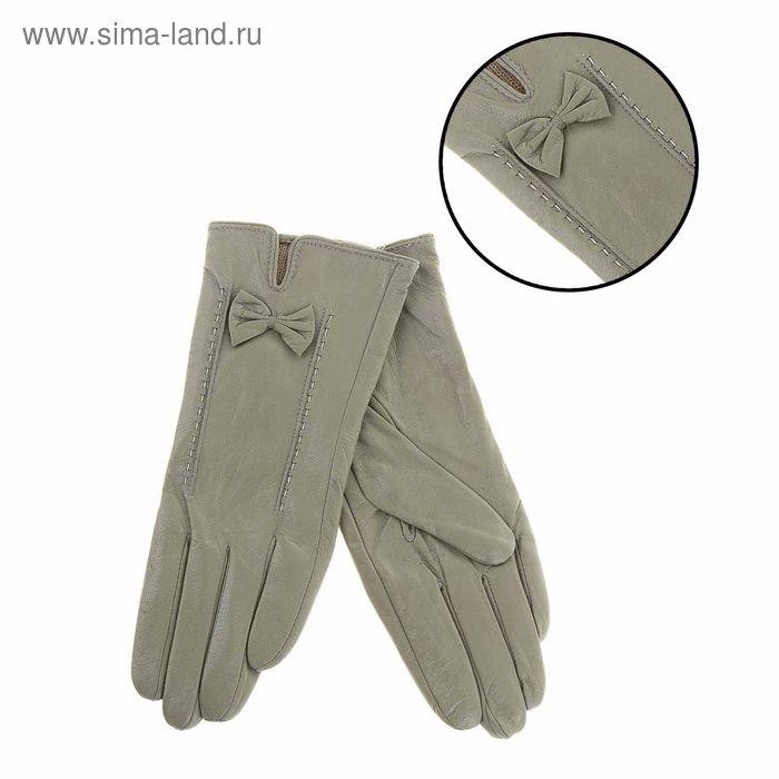 """Перчатки женские """"Миранда"""" прошивка, подклад трикотаж, р-р 8,5, длина-24,5см, серый"""